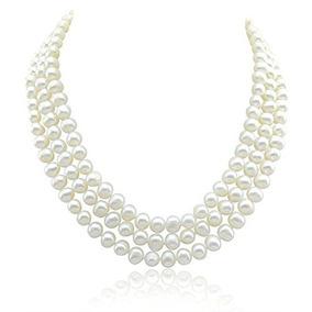 ab6c0383176e Collar De Perlas Cultivadas De Agua Dulce White A De 3 Filas