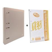 Fichário Caderno Argolado Bege Pastel Yes + 1 Bloco Extra A4