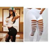 Calça Legging Feminina Moda Fitness Suplex Rasgada Giletada