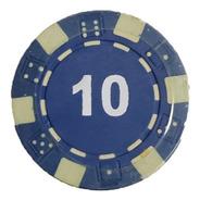 Tubo 20 Fichas De Poker Numeradas X 11.5grs Azul