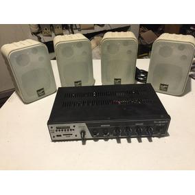 Amplificador Slim 3000-usb-fm Frahm C/ 4 Caixas De Som