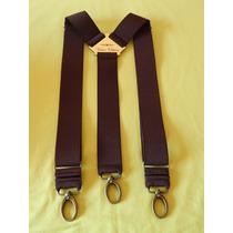 Tirador Pantalón Suspenders Mosqueton Bronce Marròn Osc. 4cm
