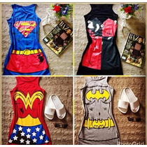 Kit 4 Vestidos Super Herois Atacado Carnaval