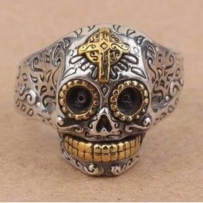 Anel Em Prata 925 E Ouro 14k Caveira Mexicana Ajustavel Cruz