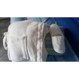 Bata De Baño Con Sus Pantuflas Color Blanca Super Suave