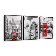 Quadro Mosaico Londres, Roda Gigante, Telefone Com Moldura