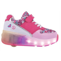 Zapatilla Fxr18 Luces Led Footy Rueda Peace & Love Pink