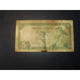 Billete Antiguo De Cinco Pesetas