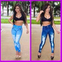 Calça Legging Estampa Jeans De Qualidade E Outras Estampas..