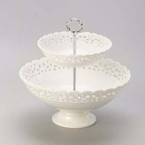 Fruteira Porcelana 2 Níveis 30x30x29,5cm Bon Gourmet R 25009