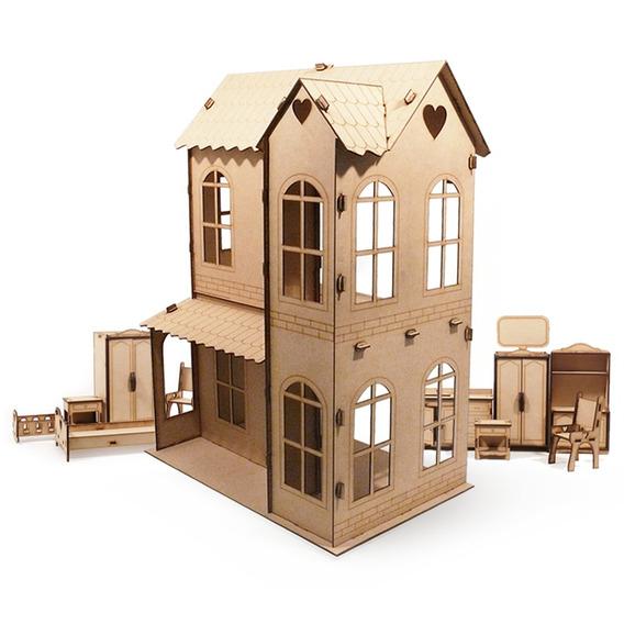 Casita De Mu?ecas + 30 Muebles Casa M3 Fibrofacil Completa !