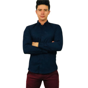 Camisa Slim Fit Camisa Color Marino- Peaceful