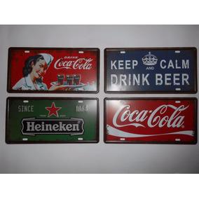 Kit 4 Placas Metal Decorativas Coca Cola Heineken Keep Calm
