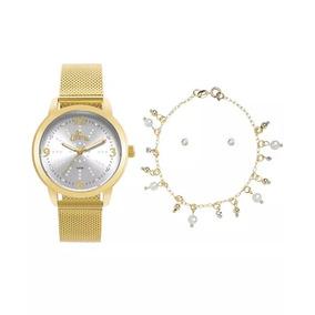 Relógio Allora Feminino - Al2035fmg/k4k (colar + Brinco)