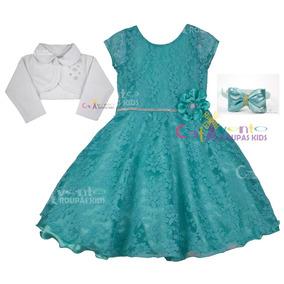 Vestido Infantil Pequena Sereia Azul Tiffany +bolero E Tiara