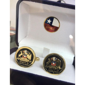 Colleras Escudo Chileno Bañadas En Oro De 18 Kilates Encaja
