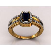 Anel Formatura Luxo. Pedra Natural. 44 Diamantes.
