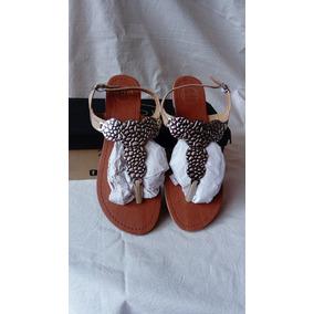 Sandalias Bajas Color Nude Con Plateado