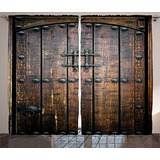 Ambesonne Rustic Decor Collection, Puerta De Madera Antig...