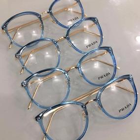 Armação Para Oculos De Grau Feminino Prada Metal Azul