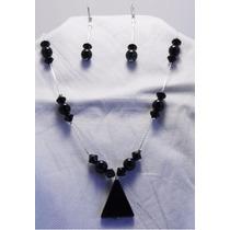 Juego Collar Y Aretes Obsidiana