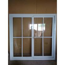 Ventana Doble Hoja Corrediza De Aluminio Con Vidrio
