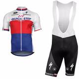 Uniforme Ciclismo Quick Step 2018 Jersey + Short Bib Mod1