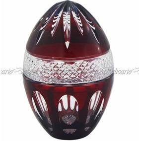 Ovo Bomboniere Pinha Grande Cristal Lapidado Bohemio Vinho