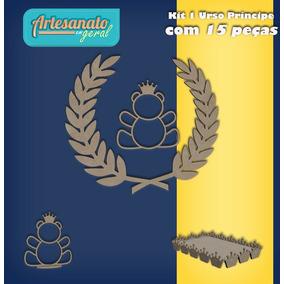 Kit 1 Urso Príncipe Decoração De Festa (15 Peças) Mdf Cru