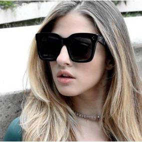 Óculos Sol Grande Vintage Quadrado Oversize Blogueiras Preto