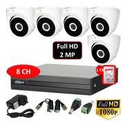 Kit Seguridad Dvr 8ch+ 5 Cámaras Domo Full Hd Exterior+disco