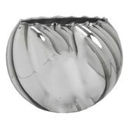 Vaso Canelado Aquário Med-prata Espelhad Lxaxp-20x15,5x20cms