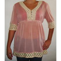 Blusa Para Dama De Vestir Chifon Bordada