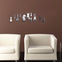Decoración De Pared Figuras Ajedrez Acrílico Tipo Espejo