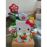 Kitty, Adorno En Porcelana Fría Con Jardín De Flores