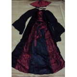 Fantasia Vampira Luxo Pronta Entrega Vestido Longo Com Gola