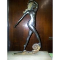 Antigua Estatua De Bronce Con Base De Marmol Escucho Ofertas