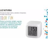 Relógio Abajur Luz Noturna Colorido Com Alarme E Temperatura