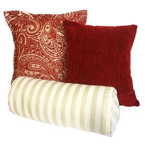 Set De 3 Cojines Decorativos Navidad Cloudy - Rojo Y Blanco