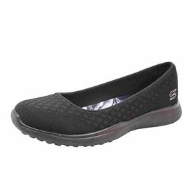 Flat Skechers One Up Negro Mujer Dama Zapatos Rudos