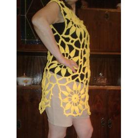 Vestido Playero Tejido Crochet Hilo Mujer Verano