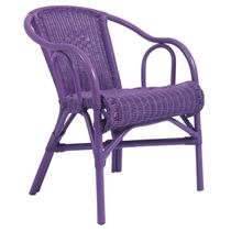 Cadeira Beach Roxa Em Vime Com Braço - Ur S/juros S/frete