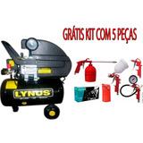 Compressor De Ar Lynus 24lts127v Grátis Kit 5 Peças Pintura