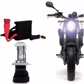 Kit Bi Xenon Moto H4-3 6000k 8000k Reator Slim H4 Lampada