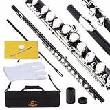 Flauta Transversal Negra Orificio Cerrado Llaves Plateadas