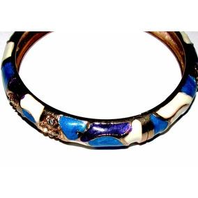 Brazalete/pulsera/esmaltada Azul/blanco/turquesa/strass