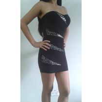 Vestidos Negro Con Plateadotalla Única Tipo Top De Cóctel