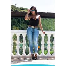 Calça Jeans Oppnus Feminina Cós Médio Skinny Lycra 3165