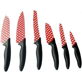 Kit De Facas Inox Coloridas Para Cozinha Com 6 Peças Mtx