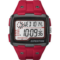 Reloj Digital Timex Expedition Grid Shock Indiglo Rojo